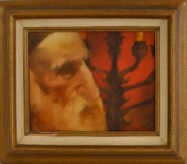 Rabbi with Menorah by Charles Bragg