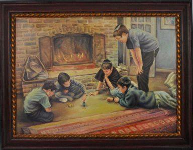 Children Playing Dreidel by Elie Benzaquen