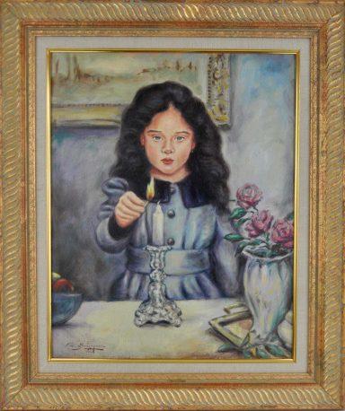 Girl Lighting shabbat Candle by Elie Benzaquen